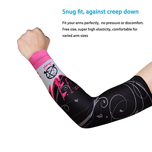 Ezyoutdoor 1 Pair Unisex Comfortable Lycra Skull&Butterfly Series Pattern Sweat Absorption Sports Cooling Arm Sleeves UV & Sun Protection for Bike Cycling Golf Hiking Camping (Black&Pink,