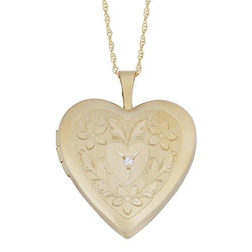 Kooljewelry 10k Yellow Gold Floral Design Heart Locket With Diamond Accent On Rope Chain Necklace (18 inch) -