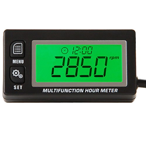Small Engine Motorcycles (Searon Multifunction Hour Meter Tachometer Voltmeter with Clock 2 & 4 Stroke for Small Engine Boat Outboard Mercury Motocross Motorcycle Lawn Mower Generator)