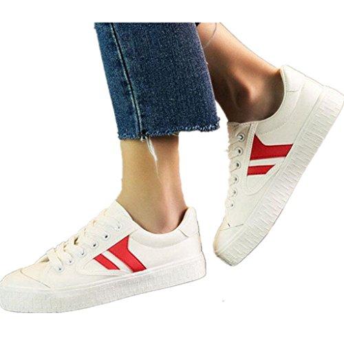 SHFANG Zapatos de señora Plano Bottom Canvas Shoes Movimiento Ocio Estudiantes Escuela Daily Shopping Dos colores Red
