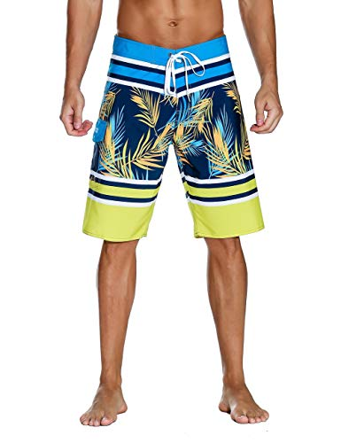 Unitop Men's Swim Trunks Quick Dry with Lining Blue and Yellow 36 by Unitop