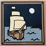 LEGO Items 2 x 2 Dark Tan Tile of Ship Sailing Under the Moon [Loose]