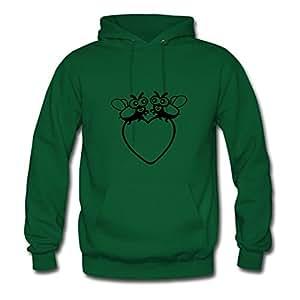 Green Love Bug With Heart Creative Design X-large Organic Cotton Women Hoody