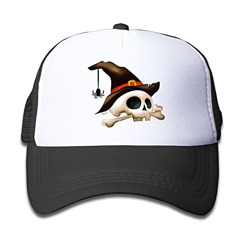 Discount DNUPUP Kid's Hallowmas Skull Spider Adjustable Casual Cool Baseball Cap Mesh Hat Trucker Caps for cheap