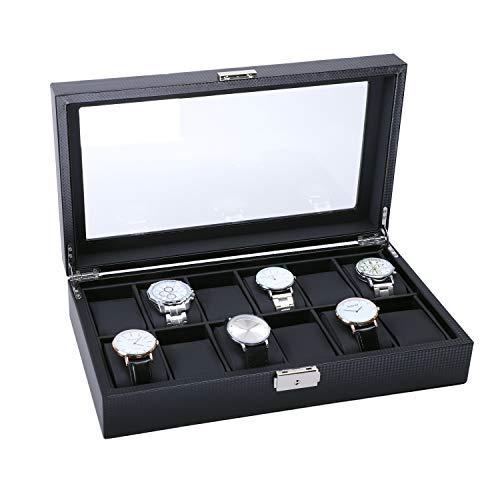 BASTUO Watch Box 12 Watch Display Case Mens Watch Organizer Case with Key&Lock, Black with Glass Top