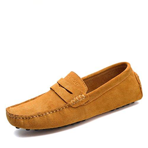 cuir chaussures doux conduite Style Brown véritable mocassins Lumino d'été hommes appartements en chaussures mocassins Light Mode hommes wIEA6q8x