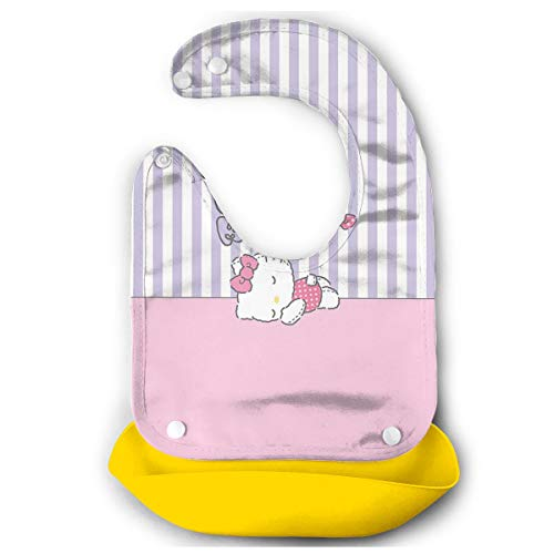 Baby Bib Hello Kitty Sleeping Waterproof Feeding Bibs for Babies and Toddlers with Food Catcher Pocket Yellow ()