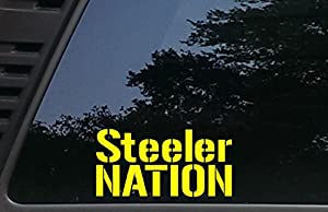 """Steeler Nation - 7"""" x 3 1/2""""die cut vinyl decal for cars, trucks, windows, boats, tool boxes, laptops, etc at Steeler Mania"""