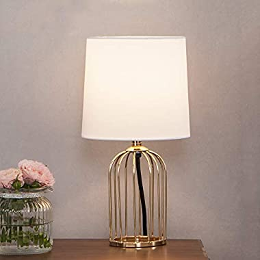 Cotulin Exquisite Small Golden Hollowed Out Base Bedroom Living Room Bookstore beside desk Table Lamp, with Simple White Fabric Shade