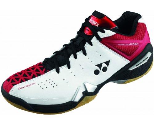 YONEX SHB-01MX Men's Badminton Shoes, White/Black/Red, US11