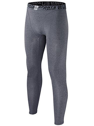 EU Men's Compression Tight Pants Base Layer Running Leggings(Grey M/Tag XL) ()