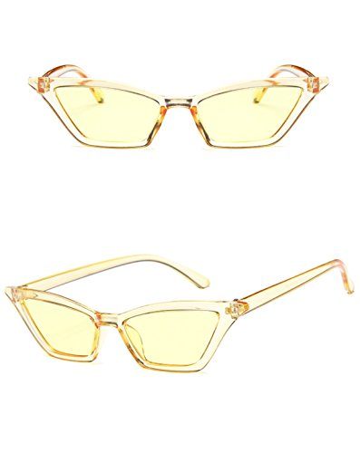 Retro Small Frame Skinny Thin Cat Eye Vintage Sunglasses for Women Colorful Mini Narrow Square Cateye Sunglasses by W&Y YING (yellow) (Mini Eye Glasses)