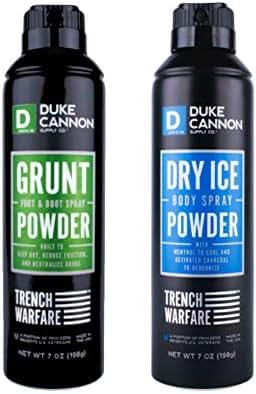 Duke Cannon Trench Warfare Men's Powder Spray Set: Dry Ice Powder Spray, 7 ounce + Grunt Foot & Boot Powder Spray, 7 ounce