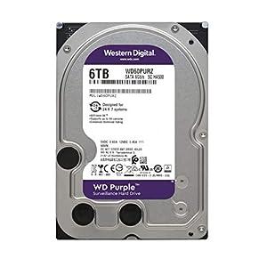 """WD Purple 6TB Surveillance Hard Drive - 5400 RPM Class, SATA 6 Gb/s, 64 MB Cache, 3.5"""" - WD60PURZ"""