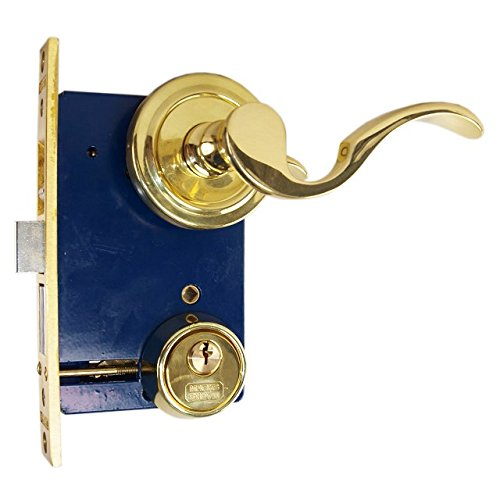 Marks 9225AC/3 Polished Brass US3 Double Cylinder Ornamental Lever Rose Mortise Entry Iron Gate Door Lock Set (Left Hand Reverse (from outside out swing)) by Marks USA