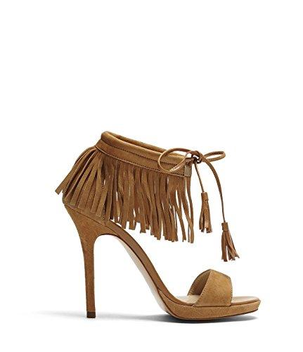 PoiLei Fenja - Damen Schuhe / elegante Sommer-Sandaletten mit Fransen braun