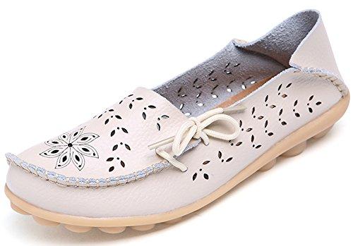 Summerwhisper Donna Comode Scava Fuori Le Scarpe Da Guida In Pelle Mocassini Slip-on Appartamenti Scarpe Da Barca Beige