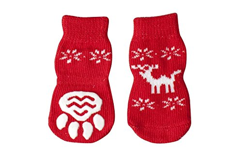 Price comparison product image Pesco Pack of 4 Pieces New Fashion Christmas Party Dog Socks Non-slip Warm Knitted Puppy Socks (Chirstmas Elk,  Small)
