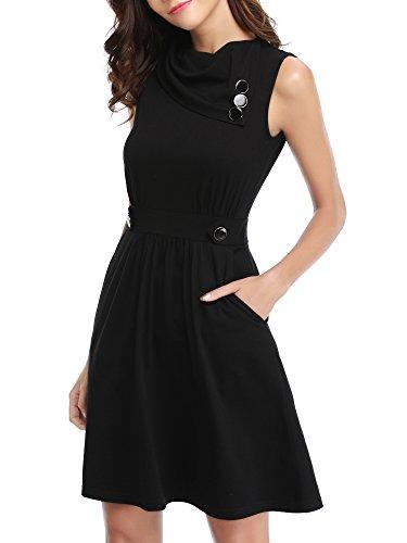 HUHOT T-Shirt Dress,Womens Sleeveless Cowl Neck Summer Dress with Pockets Knit Pleated Dress(Black Medium) ()