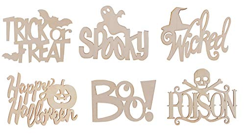 Halloween Unfinished Wood Cutout (Pack of 6 - Wicked, Spooky, Happy Halloween, Trick or Treat, Wood Boo, Poison Sign with Skull) Perfect for Craft & -