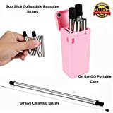 Pink Portable Reusable Drinking Straws Case and Cleaning Brush ; Collapsible Stainless Steel Straws; Foldable/Retractable Metal Straws
