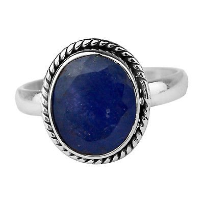 925 Sterling Silver Blue Sapphire gemstone Ring Size 7 US 3.86 g cci