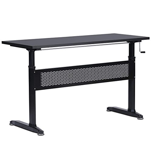Frame Steel Adjustable (DEVAISE Manual Height Adjustable Desk - Steel Frame Computer Standing Desk with Side Crank/Black)