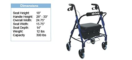 Junior Aluminum Rollator - Blue - Padded Seat