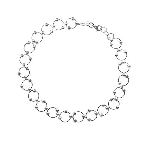 (Sterling Silver Italian Beaded Circle Link Bracelet and Anklet - Round Link Bracelet with Beads, Silver Charm Bracelet (9))
