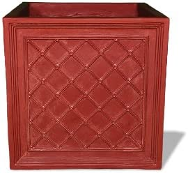 Amedeo Design 2514-29T ResinStone Iron Grid Planter, 36 by 36 by 36-Inch, Terra Cotta