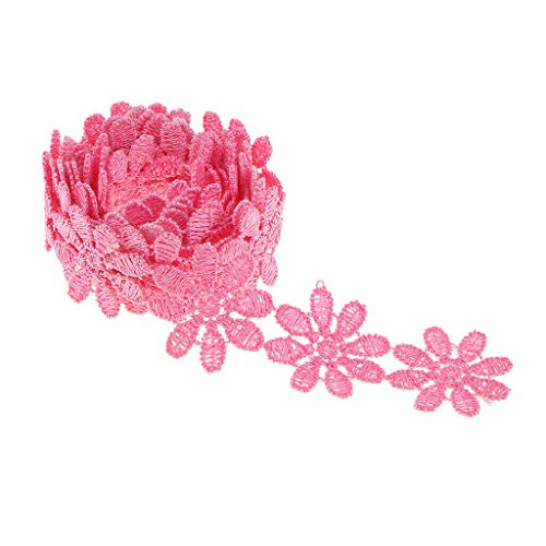 - 1 Yard Water Soluble Flower Embroidery Lace Trim Ribbon Dress Sewing Craft | Color - Rose Red