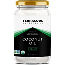 Terrasoul Superfoods Refined Unscented Organic Coconut Oil, 2 Pounds (Glass Jar)