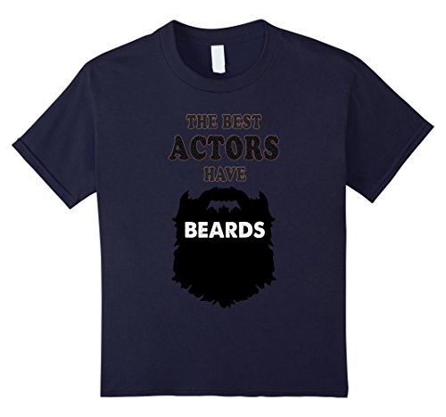 Mens Double Act Costumes (Kids bearded actor gift tshirt, beards movies, act, costume tees 12 Navy)
