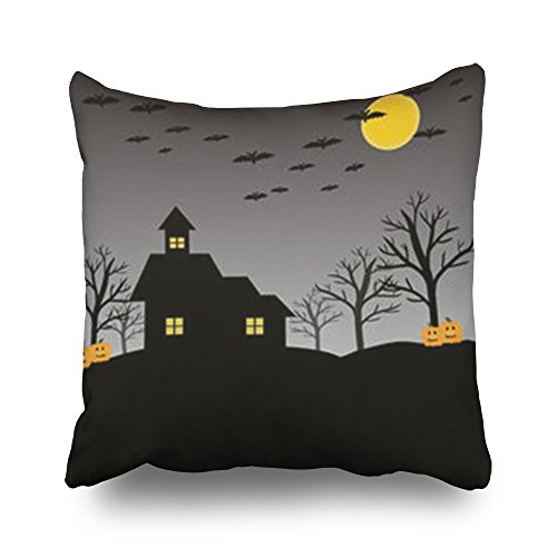 Throw Pillow Covers Bat Pumpkin House Moon Tree On Textures Halloween Holidays Square Size 20 x 20 inches Decorative Pillow Cases Home Decor Zippered Cushion Pillowcases]()