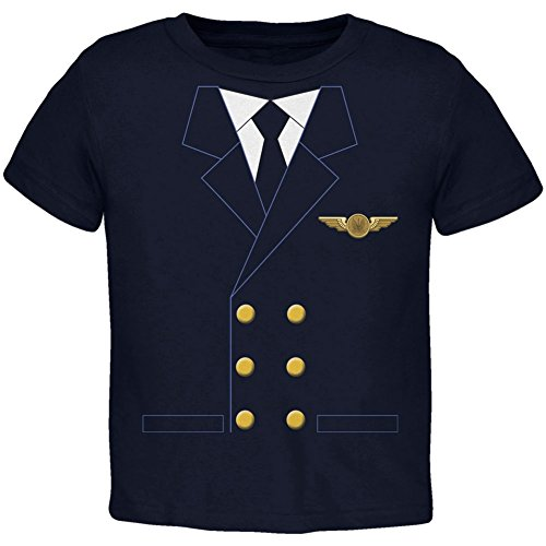 Halloween Airline Airplane Pilot Navy Toddler T-Shirt - -