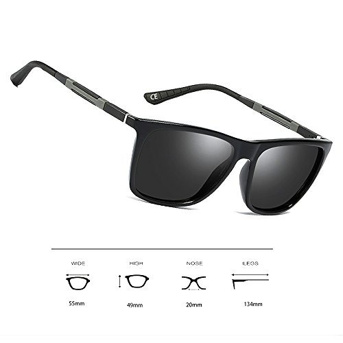 Protección Metal Marco VeBrellen Grey para de Mg Hombres UV400 Mujer VS001 Lens Polarizadas y Al Frame Black de Gafas Sol vwqnx4f6v