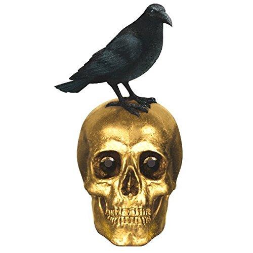 Eerie Boneyard Halloween Party Skull and Raven Centerpiece Table Decoration, Plastic, 8