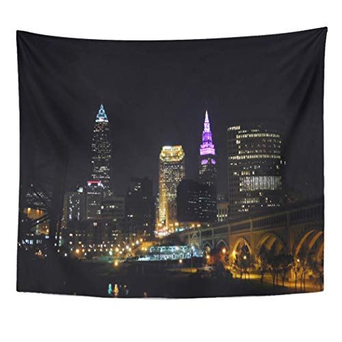 Semtomn Tapestry Artwork Wall Hanging City Cleveland Oh Purple Ohio Night Lights Home 60x80 Inches Tapestries Mattress Tablecloth Curtain Home Decor Print for $<!--$23.90-->