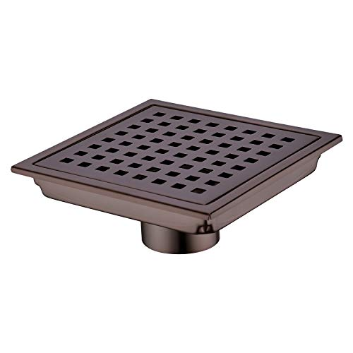 Orhemus Square Shower Floor Drain with Removable Cover Grid Grate 6 inch Long, SUS 304 Stainless Steel Brushed Bronze Finished - Grid Shower Drain Cover