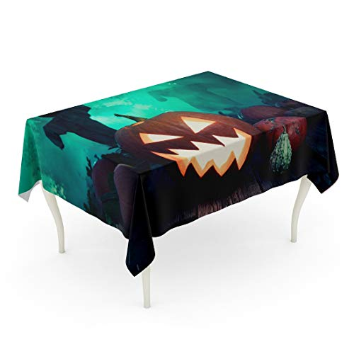 Tarolo Rectangle Tablecloth 60 x 102 Inch Blue Autumn Glowing Halloween Pumpkin Green Mist and Scarecrows Orange Black Carved Dark Face Table Cloth -