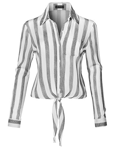 LE3NO Womens Long Sleeve Button Down Striped Crinkled Self Tie Blouse Shirt,Black,Small