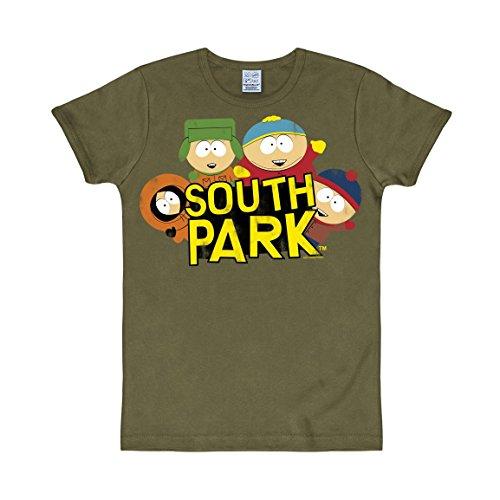 Con Slim Fit Unisex Verde Cuello Redondo Camiseta Logoshirt South De Park Oliva UXnIYw
