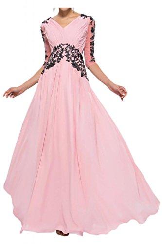 Con estilo de la gasa de la Toscana tul de novia vestidos de novia de encaje apliques por la noche madre de largo bola de vestidos de fiesta Rosa