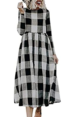 ECOWISH Womens Plaid Dresses Round Neck Long Sleeve Casual A-Line Pleated Checked Maxi Dress