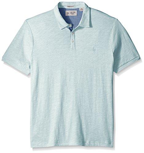 Original Penguin Men's Short Sleeve Slub Jersey Polo Shirt, Blue Glow, Large (Slub Jersey Polo)