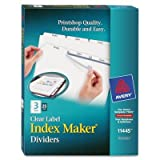 Avery 11445 Index Maker 3-Tab White Divider Clear Laser/Ink Jet Labels 25 Sets