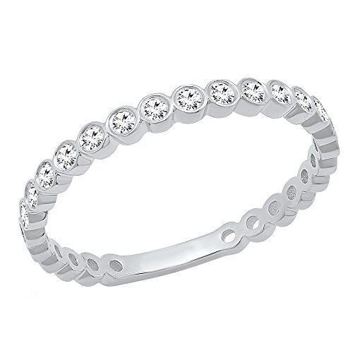 Dazzlingrock Collection 1/5 CT 10K Round Cut White Diamond Ladies Stackable Anniversary Wedding Band, White Gold, Size 8