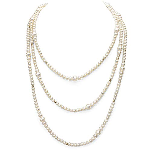 14K Yellow Gold Multi-Size High Luster White Freshwater Cultured Pearl Endless Rope Necklace, 64