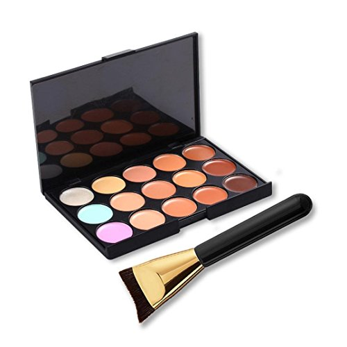 Amlaiworld 15 Farben Make-up Concealer Kontur-Palette + Make-up Pinsel Multicolor