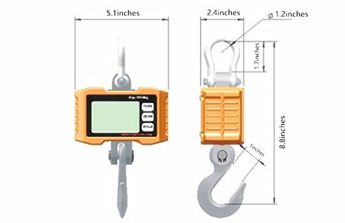Hanging Scale,Klau 1000 kg 2000 lb Digital Industrial Heavy Duty Crane Scale Smart Measuring Tool orange for Farm Factory